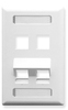 ICC IC107AS4WH White Single Gang 4 Port Angled ID Keystone Wall Plate