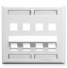 ICC IC107AS8WH White Double Gang 8 Port Angled ID Keystone Wall Plate