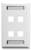 ICC IC107S04WH White Single Gang 4 Port Station ID Keystone Wall Plate