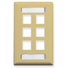 ICC IC107S06IV Ivory Single Gang 6 Port Station ID Keystone Wall Plate
