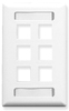 ICC IC107S06WH White Single Gang 6 Port Station ID Keystone Wall Plate