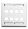 ICC IC107SD8WH White Double Gang 8 Port Station ID Keystone Wall Plate