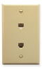 ICC IC630E66IV Ivory Single Gang Dual 6P6C Integrated Wall Plate