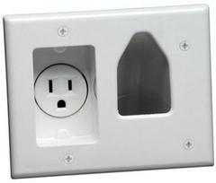 Datacomm: 45-0021-WH Recessed Plate with Power