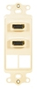 ICC IC107DDHAL Almond Dual HDMI Decora Insert with 2 Blank Ports