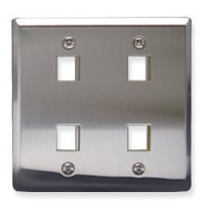 ICC Cabling Products: 4 Port Stainless Steel Wall Plate