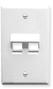 ICC IC107DA2WH White Single Gang 2 Port Angled Keystone Wall Plate