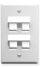 ICC Cabling Products: IC107DA4WH 4 Port Keystone Wall Plate