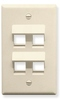 ICC IC107DA4AL Almond Single Gang 4 Port Angled Keystone Wall Plate