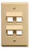 ICC IC107DA4IV Ivory Single Gang 4 Port Angled Keystone Wall Plate