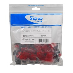 ICC Cabling Products: IC107L6CBK Black EZ Cat 6 Keystone Jack 25 Pack