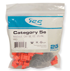 ICC Cabling Products: IC107E5CRD Red EZ Cat5e Keystone Jack 25 Pack