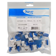 ICC Cabling Products: IC107E5CWH White EZ Cat5e Keystone Jack 25 Pack