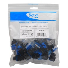 ICC Cabling Products: IC107F5CBK Blue HD Cat5e Keystone Jack 25 Pack