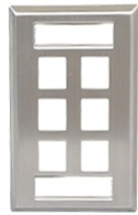 ICC Cabling Products: IC107S06SS Single Gang 6 Port ID Stainless Steel Wall Plate