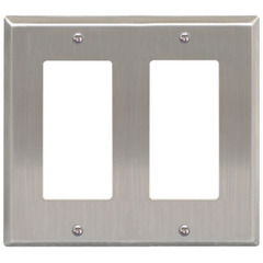 ICC Cabling Products: IC107DFDSS Double Gang Stainless Steel Decorex Faceplate