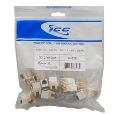 ICC Cabling Products: IC1076FCWH White High Density RJ-11 Voice Keystone Jack 25 Pack