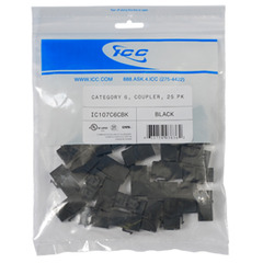 ICC Cabling Products: IC107C6CBK Black Cat 6 In-Line Keystone Coupler Jack 25 Pack