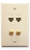 ICC ICRDS2F5AL (2) RJ-45 CAT 5e and (2) F-Type IDC Integrated Wall Plate Almond