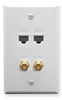 ICC ICRDS2F5WH (2) RJ-45 CAT 5e and (2) F-Type IDC Integrated Wall Plate White
