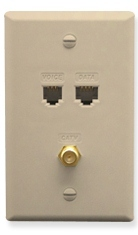 ICC Cabling Products: ICRDSVF5IV RJ-11 6P6C, RJ-45 CAT 5E, and F-Type Wall Plate