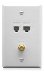 ICC Cabling Products: ICRDSVF5WH RJ-11 6P6C, RJ-45 CAT 5E, and F-Type Wall Plate
