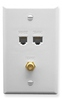 ICC ICRDSVF5WH RJ-11 6P6C, RJ-45 CAT 5E, and F-Type Wall Plate White