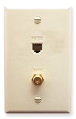 ICC Cabling Products: ICRDSVF0AL RJ-11 6P6C and F-Type Integrated Wall Plate Almond
