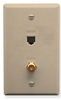 ICC ICRDSVF0IV RJ-11 6P6C and F-Type Integrated Wall Plate Ivory
