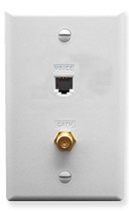 ICC Cabling Products: ICRDSVF0WH RJ-11 6P6C and F-Type Integrated Wall Plate White