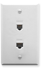 ICC Cabling Products: ICRDSV05WH RJ-11 6P6C Voice and Cat5e Data Wall Plate White