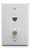 ICC ICRDS0F5WH Cat5e Data and F-Type Integrated Wall Plate White
