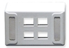 ICC IC108UF4WH White Universal 4 Port Keystone Furniture Faceplate