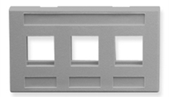 ICC: IC107FM3GY Gray 3 Port TIA Keystone Furniture Faceplate