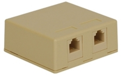 ICC: IC625SV2IV Ivory 6P6C Dual Voice Jack Surface Mount Box