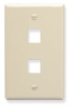 ICC IC107F02AL Almond Single Gang 2 Port Keystone Wall Plate