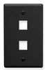 ICC IC107F02BK Black Single Gang 2 Port Keystone Wall Plate