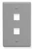 ICC IC107F02GY Grey Single Gang 2 Port Keystone Wall Plate