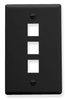 ICC IC107F03BK Black Single Gang 3 Port Keystone Wall Plate