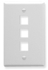 ICC IC107F03WH White Single Gang 3 Port Keystone Wall Plate