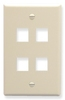 ICC IC107F04AL Almond Single Gang 4 Port Keystone Wall Plate