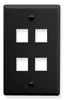 ICC IC107F04BK Black Single Gang 4 Port Keystone Wall Plate