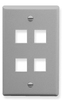ICC IC107F04GY Grey Single Gang 4 Port Keystone Wall Plate