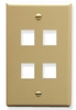 ICC IC107F04IV Ivory Single Gang 4 Port Keystone Wall Plate