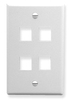 ICC IC107F04WH White Single Gang 4 Port Keystone Wall Plate