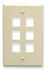 ICC IC107F06AL Almond Single Gang 6 Port Keystone Wall Plate