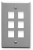 ICC IC107F06GY Grey Single Gang 6 Port Keystone Wall Plate