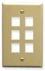 ICC IC107F06IV Ivory Single Gang 6 Port Keystone Wall Plate