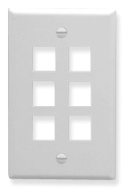 ICC Cabling Products: IC107F06WH 6 Port Keystone Wall Plate