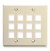 ICC IC107F12AL Black Double Gang 12 Port Keystone Wall Plate